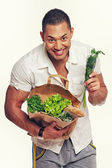 Man with food — Stock Photo