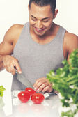Man and vegetables — Stockfoto