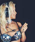 Blonde with headphones — Stock Photo