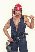 Muscle fireman — Стоковое фото