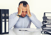 Tired Man with office stuff — Stock Photo