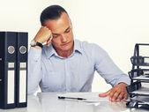 Man with office stuff — Stock Photo
