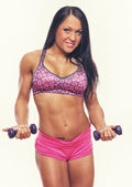 Model with dumbbells — Stockfoto