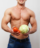 Guy with vegetables — Foto Stock