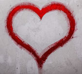 Red heart on wall — Stock Photo