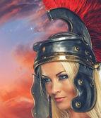 Gladiatrix woman — Stock Photo