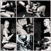 Women with dumbbells — Stock Photo