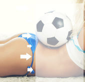 Woman with soccer ball — Stock Photo