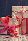 Gift boxes with ribbon — Stock Photo