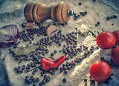 Tomatoes and grinder — Foto Stock
