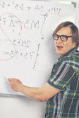 Nerd guy with marker — Stock Photo