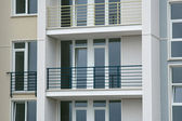 Stainless steel balcony on the modern building — Stock Photo