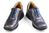 Gray leather man's shoes — Stok fotoğraf