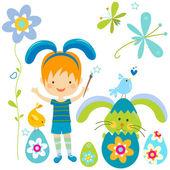 Little boy in bunny costume — Stockfoto