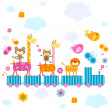 Stock Vector: Zoo train