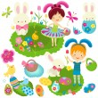 Stock Vector: Happy kids celebrating easter