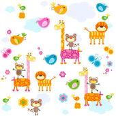 Animals background — Stock Vector