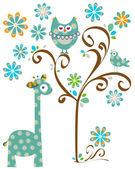 Coruja e girafa — Vetorial Stock
