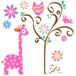 Stock Vector: Owl and giraffe