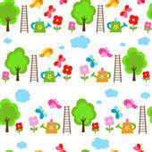花园无缝背景 — 图库矢量图片