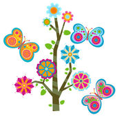 Floral tree and butterflies — Stock Vector