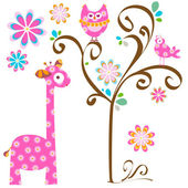 Owl and giraffe — Vecteur