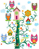Owl`s tree — Stock Vector