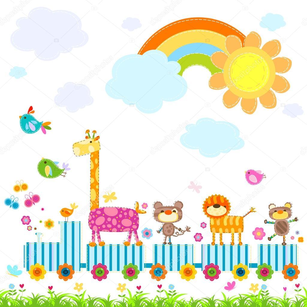 动物园火车运载的快乐动物在一个晴朗的天