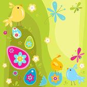 Uova e pulcini di pasqua — Vettoriale Stock