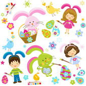 Easter children — Vecteur