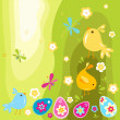 Easter chicks and eggs — Stock Vector