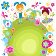 Boy and girlcelebrating easter - Stock Vector