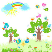 Spring with rainbow — Stock Vector