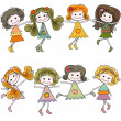 Girls — Vector de stock #19501287