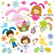 Stock Vector: Easter children