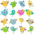 Cute birds set — Stock Vector #19660707