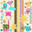 Cute giraffe and birds - Vettoriali Stock 