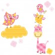 Cute birds & giraffe — Stock Vector #20029929