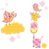 Cute birds & giraffe — Vector de stock