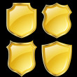 Shields with golden border - Stock Vector