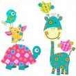 Happy birds & giraffe — Vector de stock  #20352579