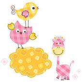 Cute birds & giraffe — Stock Vector