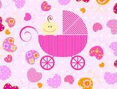 Baby girl and butterflies — Stock Vector