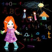 ребенок в школе — Cтоковый вектор
