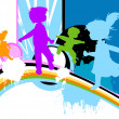 Vector de stock : Kids silhouettes