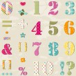 Stock Vector: Colorful numbers set