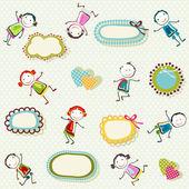 Happy children background — Stock Vector