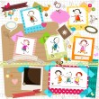 Stock Vector: Kids and photo frames