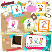 Kids and photo frames — Stock Vector