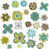 Doodle flowers set — Stock Vector